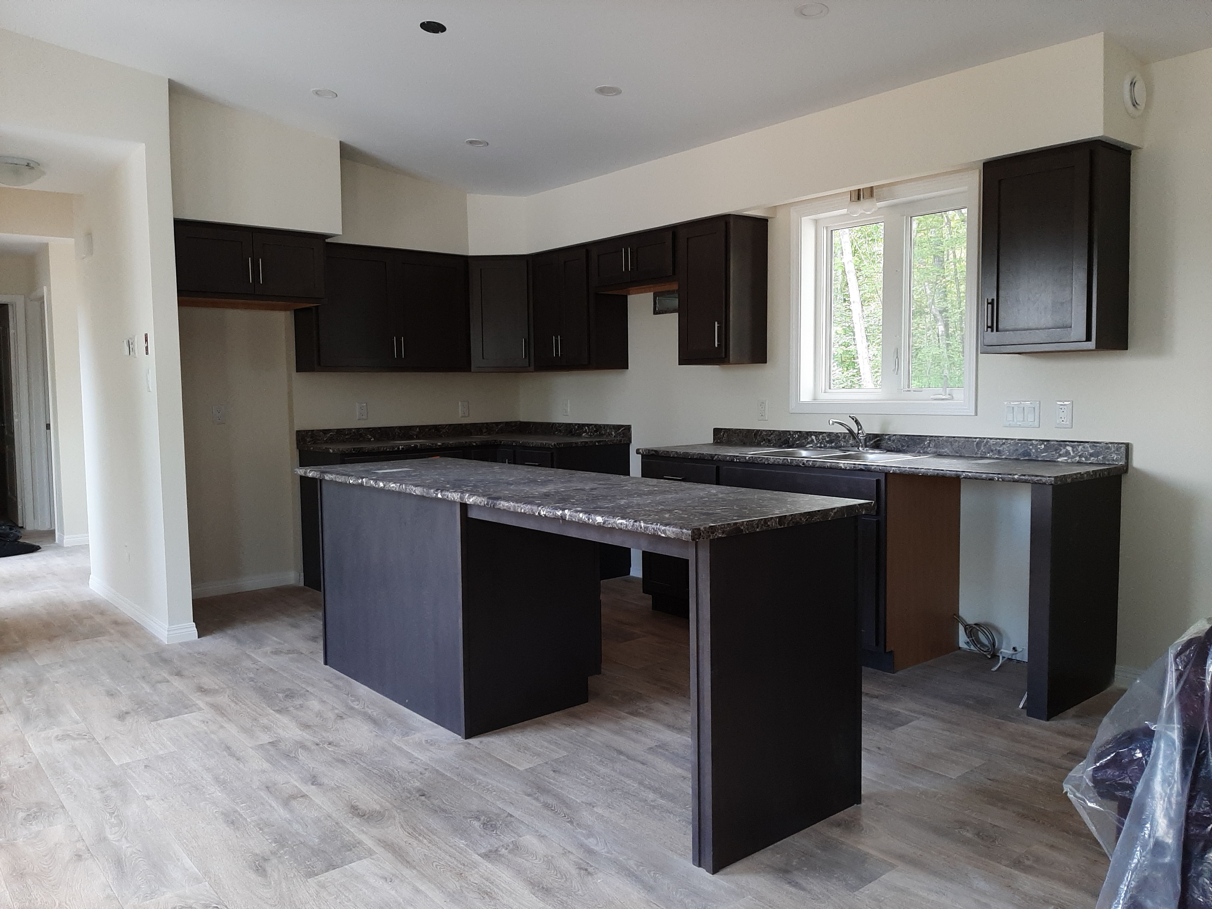 Inside the home, kitchen island